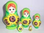 Sunflowers Russian nesting dolls