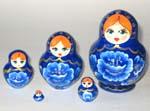 Blue Gzhel Style Matreshka