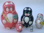 Cats and Mouse Russian dolls
