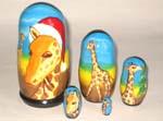 Giraffe - Santa Russian dolls